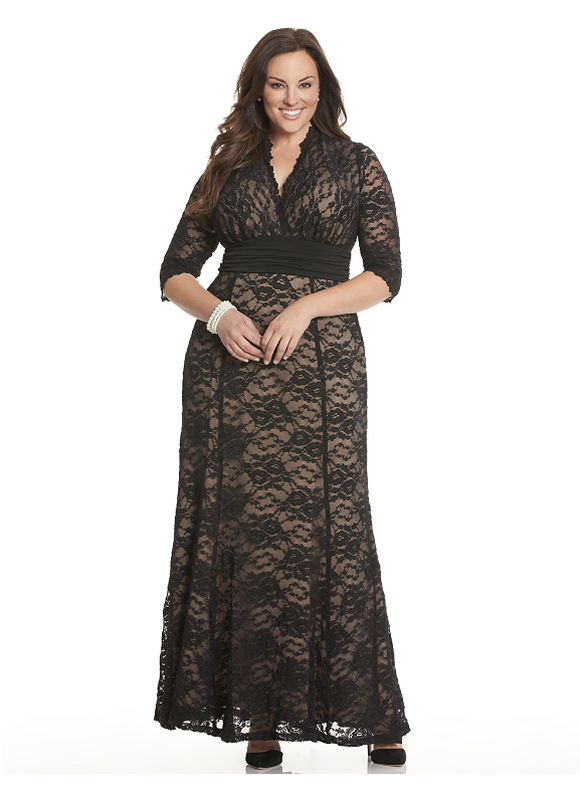 Lane Bryant Plus Size Screen siren lace gown by Kiyonna - - Women's Size 1X,2X,3X,0X, Black
