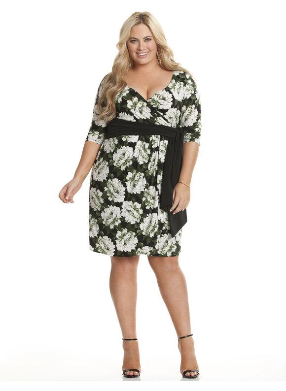 Plus Size Harlow faux wrap dress by Kiyonna Lane Bryant Women's Size 3X, black