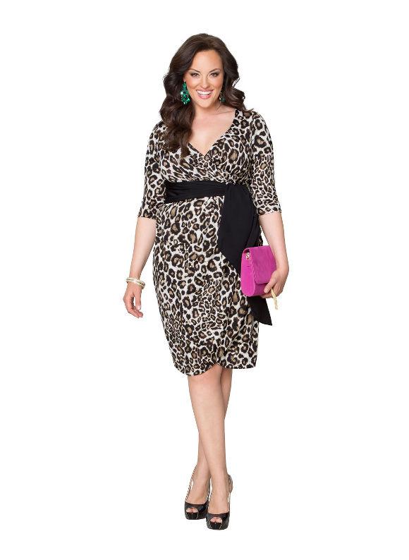 Plus Size Harlow faux wrap dress by Kiyonna Lane Bryant Women's Size 0X, brown
