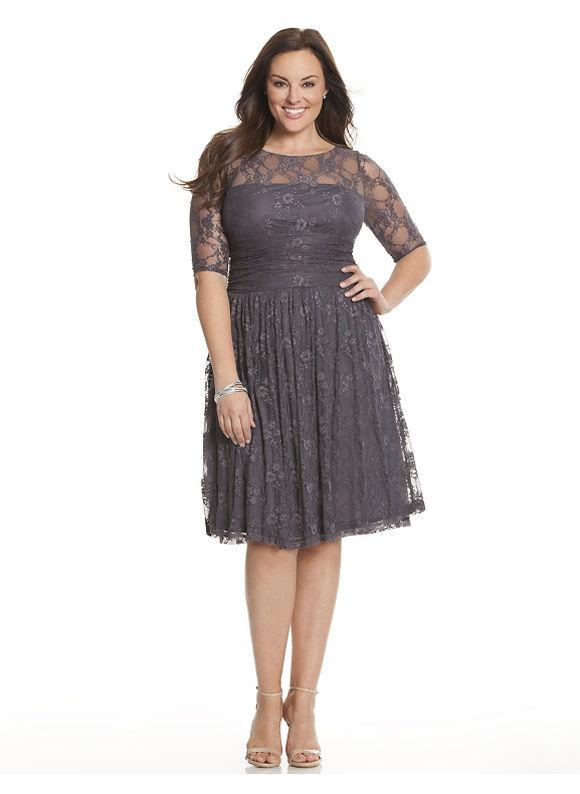 Plus Size Luna lace dress by Kiyonna Lane Bryant Women's Size 2X, grey - Lane Bryant ~ Trendy Plus Size Clothes