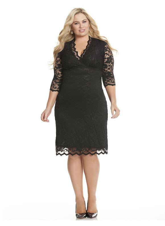 Plus Size Scalloped boudoir dress by Kiyonna Lane Bryant Women's Size 2X, black - Lane Bryant ~ Trendy Plus Size Clothes