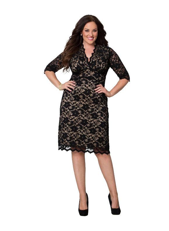 Plus Size Scalloped boudoir dress by Kiyonna Lane Bryant Women's Size 2X, tan - Lane Bryant ~ Trendy Plus Size Clothes
