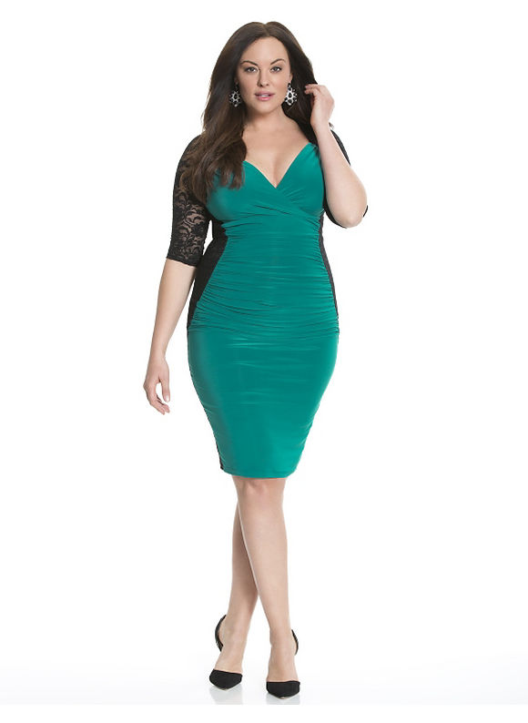 Plus Size Valentina illusion dress by Kiyonna Lane Bryant Women's Size 4X, turquoise