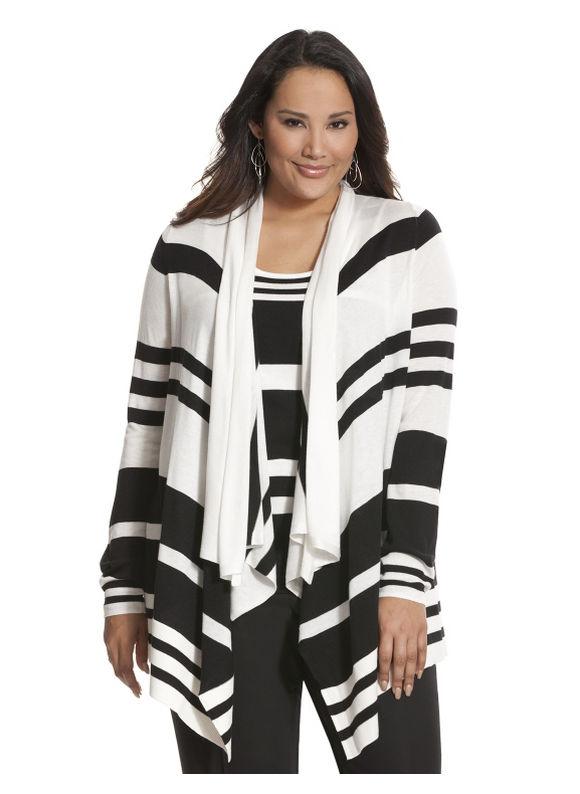 Lane Bryant Plus Size Striped drape front cardigan Size 22/24, black
