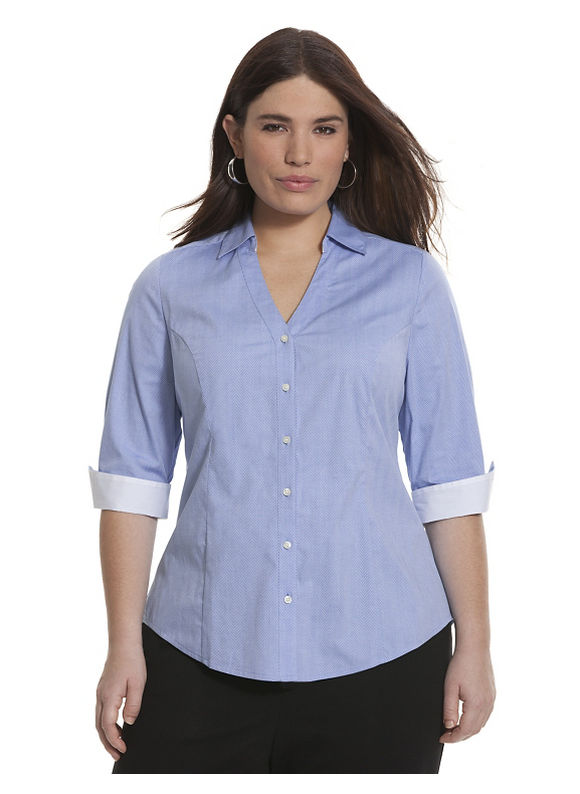 Lane Bryant Plus Size 34 sleeve textured Perfect shirt Size 14,16,18,20,22,24,26, blueberry - Lane Bryant ~ Trendy Plus Size Clothes