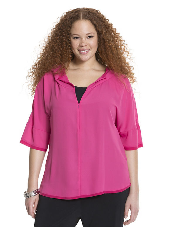 Lane Bryant Plus Size Mixed media hoodie Size 14/16,18/20,22/24,26/28, Black, Pink bloom
