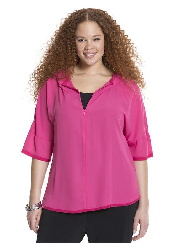 Lane Bryant Plus Size Mixed media hoodie Pink bloom