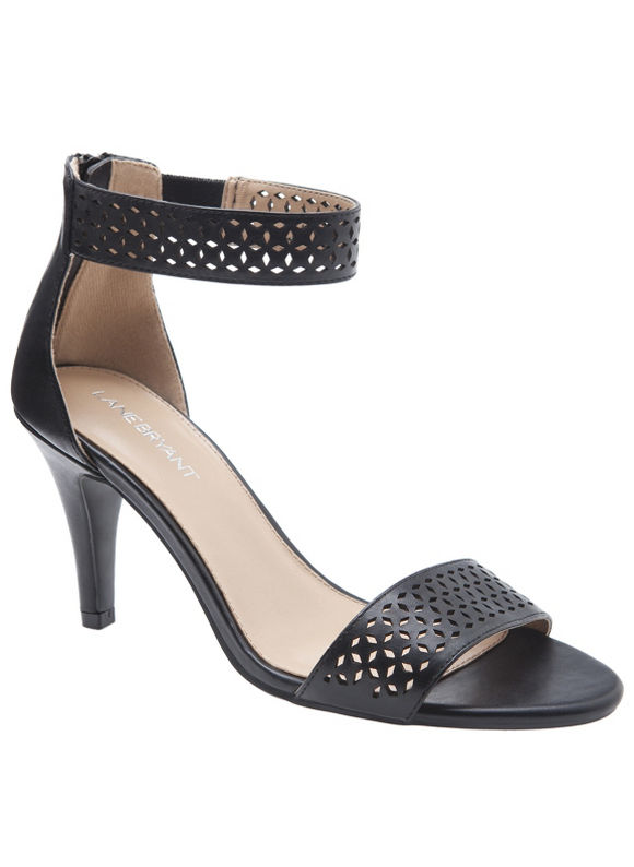 Lane Bryant Wide Calf Perforated ankle strap heel Size 8 W, black