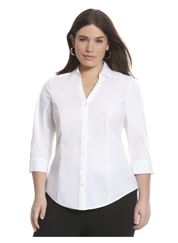Lane Bryant Plus Size 34 sleeve Perfect shirt Size 14, white - Lane Bryant ~ Trendy Plus Size Clothes