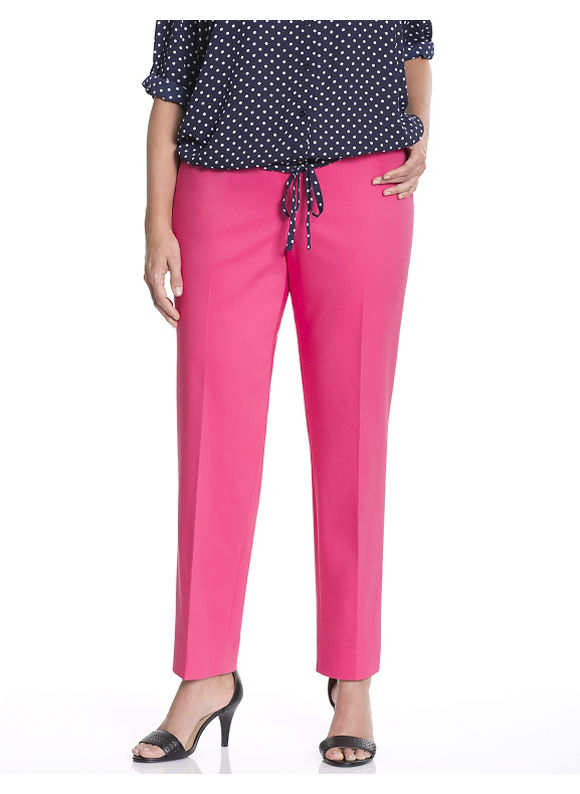 Lane Bryant Plus Size Sophie double weave slit-ankle pant Size 22, Pink
