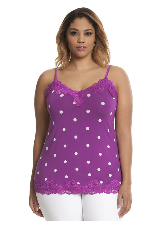 Printed lace trim cami Plus Size/Black, Pink Bloom by Lane Bryant
