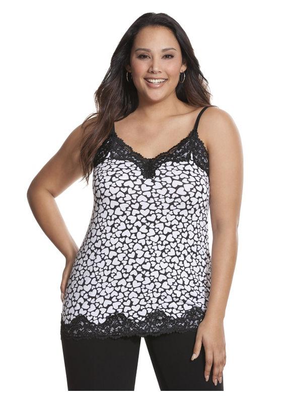 Lane Bryant Plus Size Printed lace trim cami Size 14/16, black