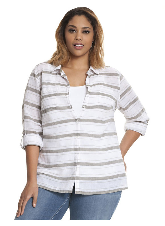Lane Bryant Plus Size Striped casual buttondown shirt Size 26/28, Palmer green