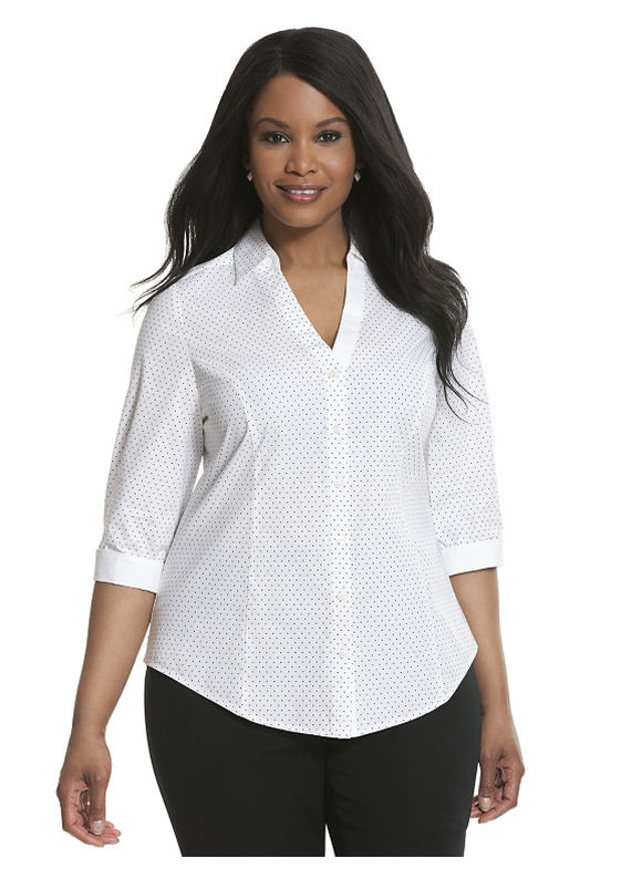 Lane Bryant Plus Size 34 sleeve printed Perfect shirt Size 14, white - Lane Bryant ~ Trendy Plus Size Clothes