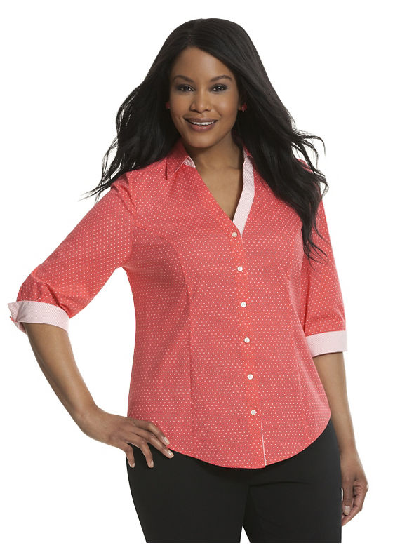 Lane Bryant Plus Size 34 sleeve printed Perfect shirt Size 18, Coral - Lane Bryant ~ Trendy Plus Size Clothes