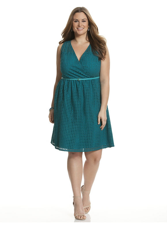 Plus Size Perforated surplice dress Lane Bryant Women's Size 28, turquoise