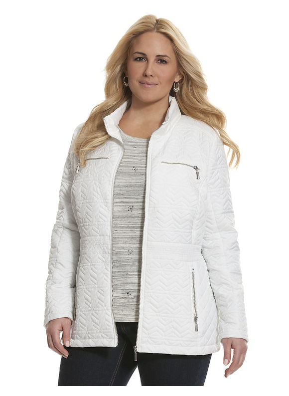 Lane Bryant Plus Size Quilted nylon jacket Size 18/20, white