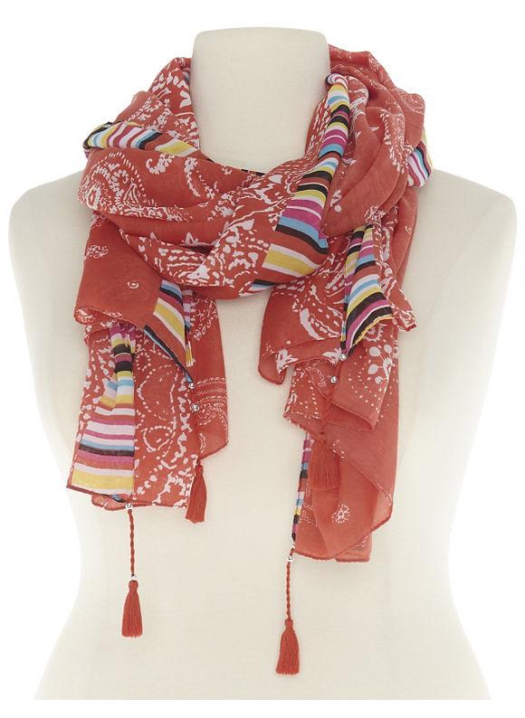 Lane Bryant Plus Size Mixed print scarf with tassels Size One Size, orange - Lane Bryant ~ Trendy Plus Size Clothes