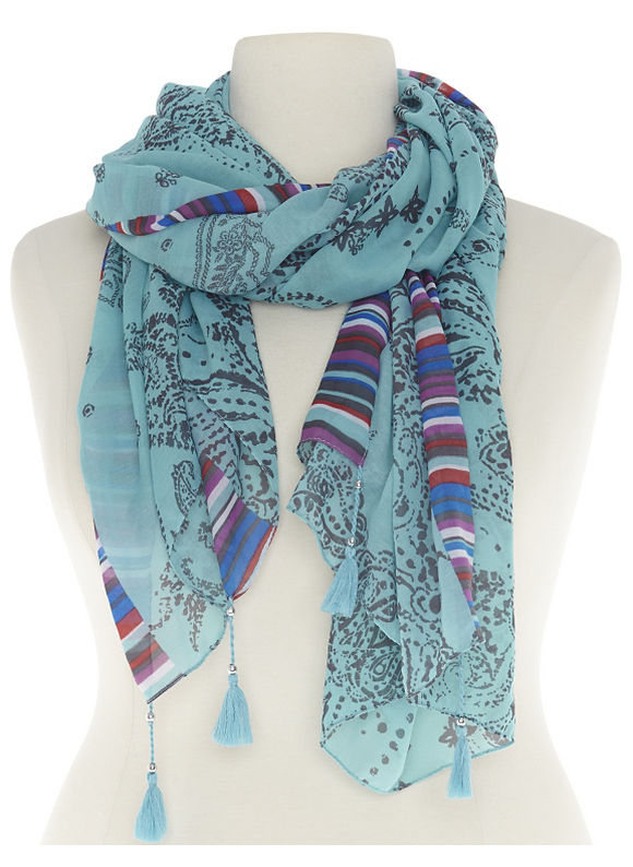 Lane Bryant Plus Size Mixed print scarf with tassels Size One Size, coastal coral, belize blue
