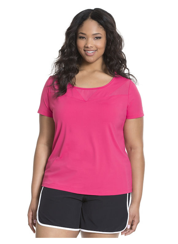 Lane Bryant Plus Size Cooling mesh spliced active tee Size 14/16, Passionfruit Pink - Lane Bryant ~ Trendy Plus Size Clothes