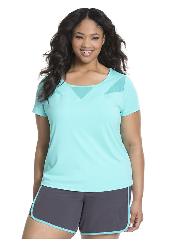 Lane Bryant Plus Size Cooling mesh spliced active tee Size 14/16, Cayman Turquoise - Lane Bryant ~ Trendy Plus Size Clothes