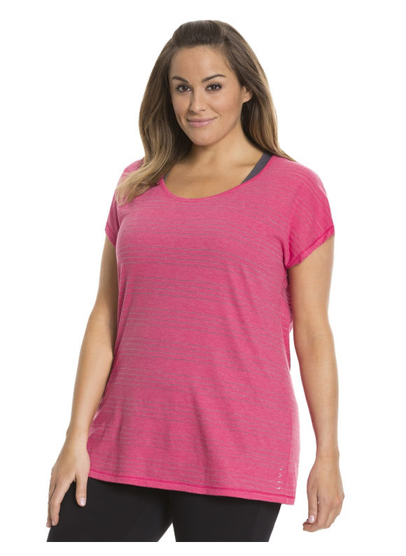 Lane Bryant Plus Size Striped layered-look tee Size 26/28, Passionfruit Pink