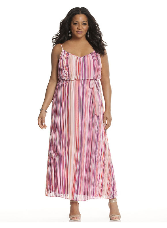 Plus Size Striped pleated maxi dress Lane Bryant Women's Size 18/20, Pink - Lane Bryant ~ Trendy Plus Size Clothes
