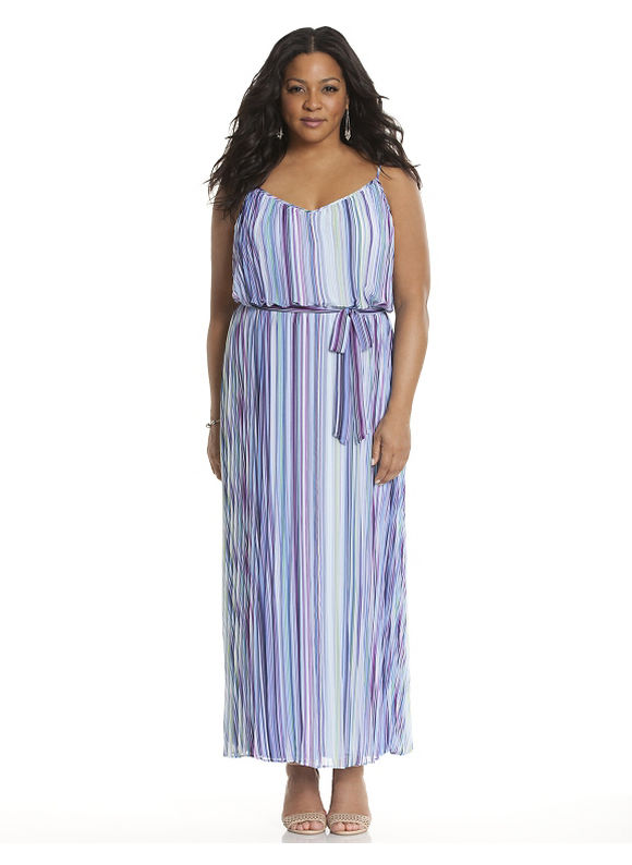 Plus Size Striped pleated maxi dress Lane Bryant Women's, blue