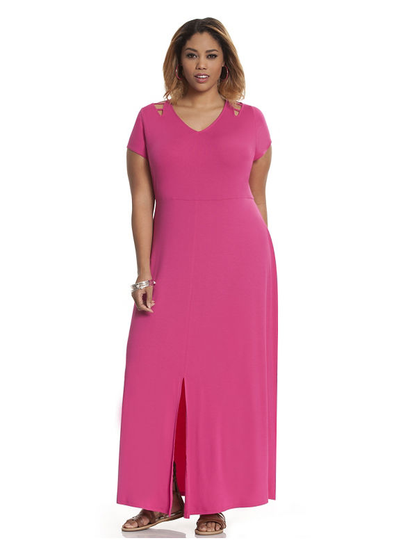 Plus Size Lattice detail maxi dress Lane Bryant Women's Size 22/24, Raspberry