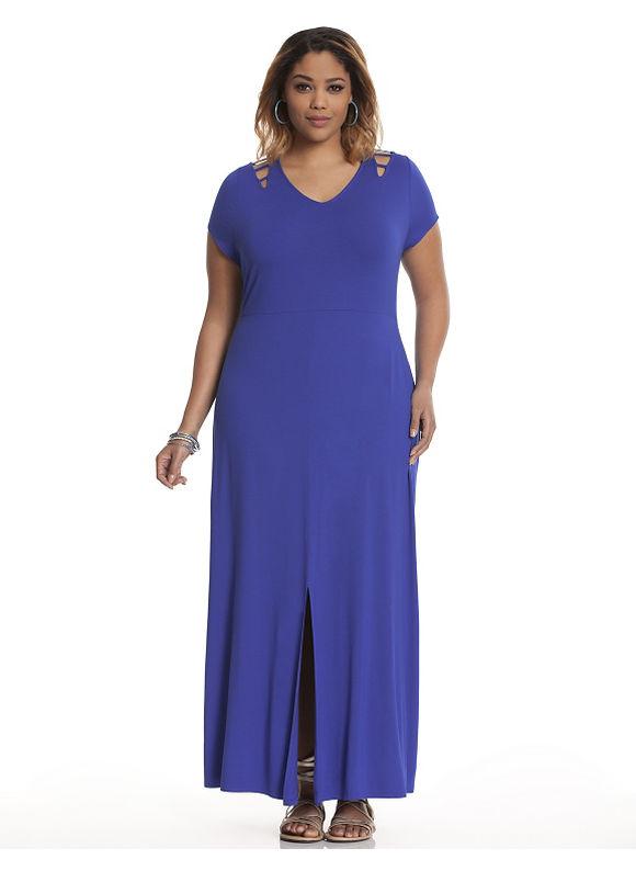 Plus Size Lattice detail maxi dress Lane Bryant Women's Size 14/16, blue