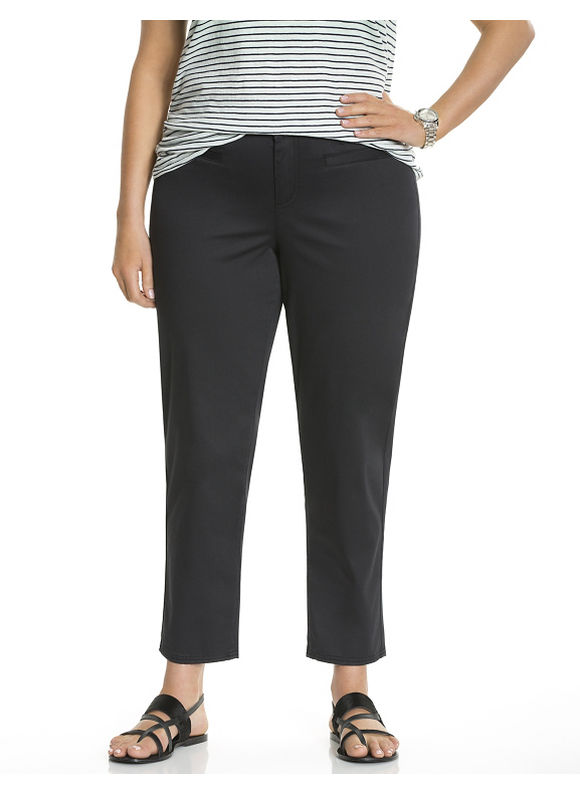 Plus Size Genius Fit™ twill capri Lane Bryant Women's, black