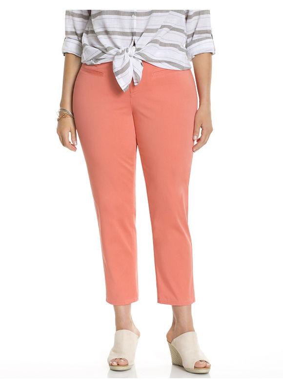 Plus Size Genius Fit™ twill capri Lane Bryant Women's, orange