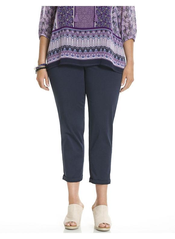 Lane Bryant Plus Size Genius Fit™ twill capri Size 14, blue