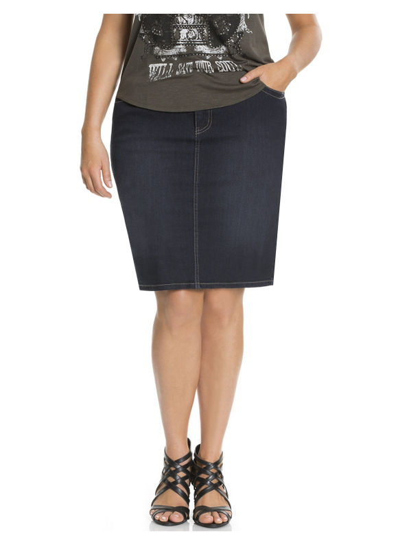 Lane Bryant Plus Size Denim skirt with Tighter Tummy Technology Size 18,  gray plus size,  plus size fashion plus size appare