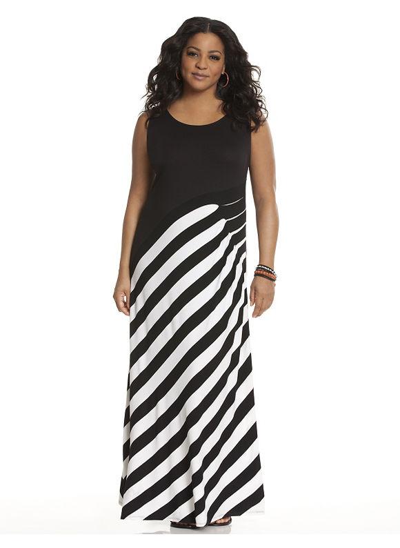 Plus Size Side pleat striped maxi dress Lane Bryant Women's Size 22/24, black