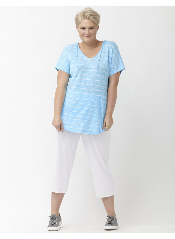 Lane Bryant Plus Size Short sleeve hacci hoodie, Vibrant Aqua