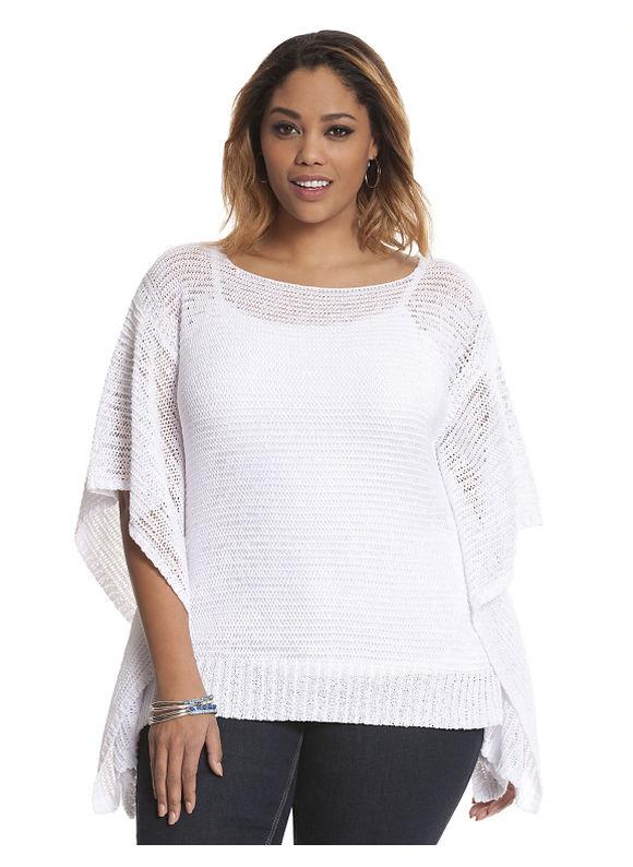 Lane Bryant Plus Size Open knit drama sweater Size 18/20, white