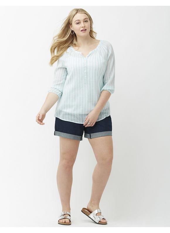 Lane Bryant Plus Size Striped peasant top Size 26/28, blue
