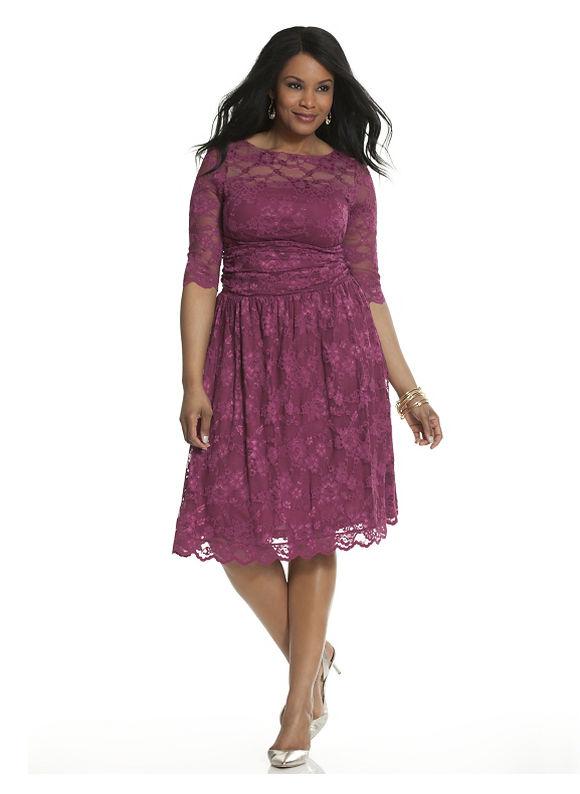 Plus Size Luna lace dress by Kiyonna Lane Bryant Women's Size 0X,2X, Black, Nine iron - Lane Bryant ~ Trendy Plus Size Clothes