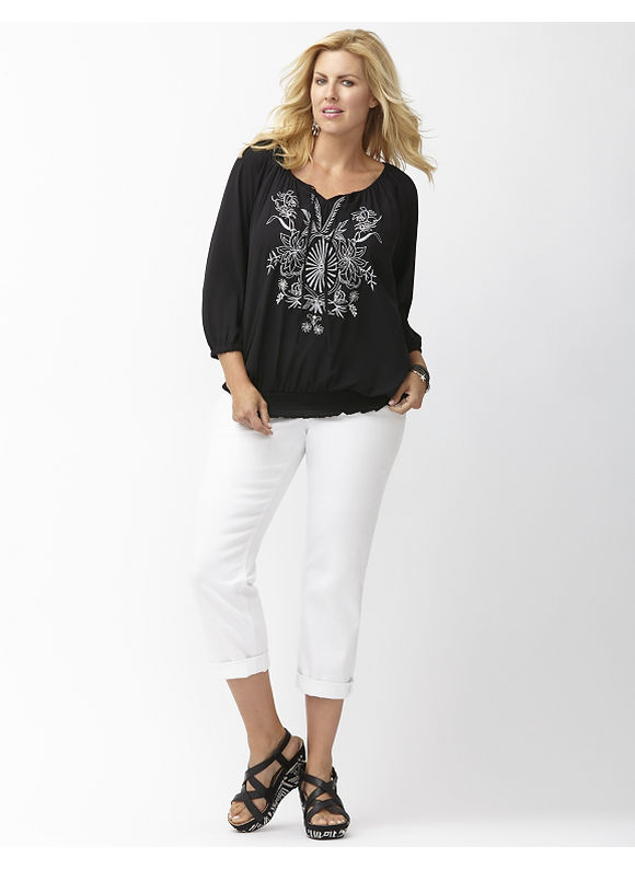 Lane Bryant Plus Size Embroidered peasant blouse Size 26/28, black - Lane Bryant ~ Trendy Plus Size Clothes