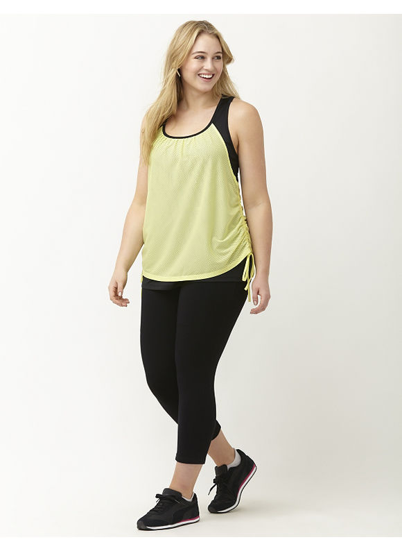 Lane Bryant Plus Size Wicking mesh overlay active tank Size 14/16,18/20,22/24,26/28, Lime Zest