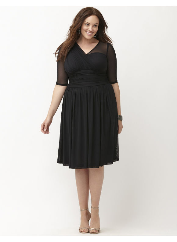 Plus Size Modern mesh dress by Kiyonna Lane Bryant Women's Size 2X, black - Lane Bryant ~ Trendy Plus Size Clothes
