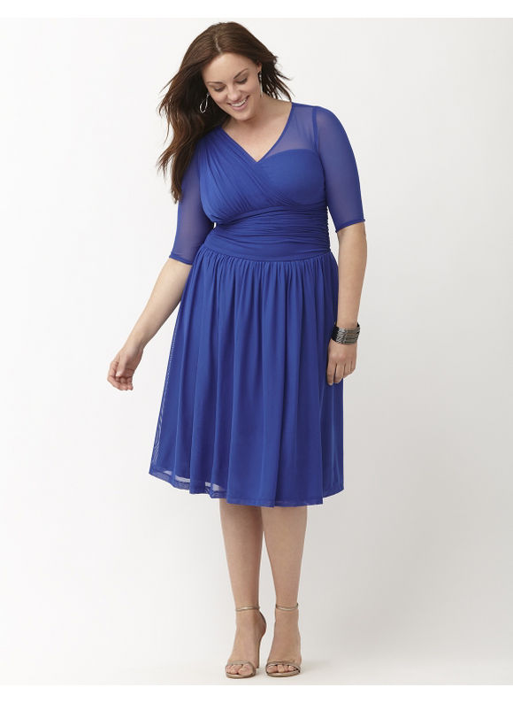 Plus Size Modern mesh dress by Kiyonna Lane Bryant Women's Size 4X, blue