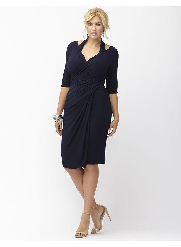 Plus Size Foxfire faux wrap dress by Kiyonna Lane Bryant Women's Size 0X, blue - Lane Bryant ~ Trendy Plus Size Clothes