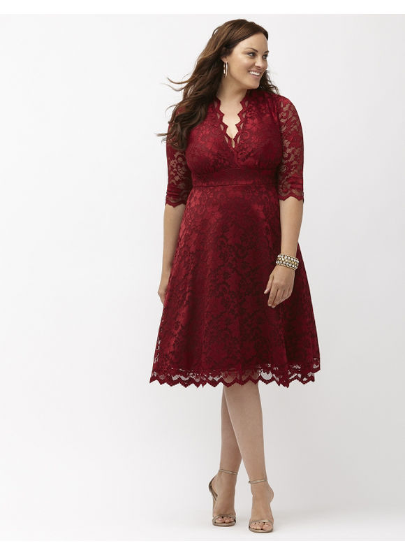 Plus Size Mademoiselle lace dress by Kiyonna Lane Bryant Women's Size 3X, red