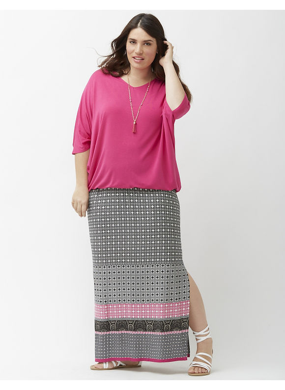 Lane Bryant Plus Size Aztec print maxi skirt Size 14/16, black - Lane Bryant ~ Trendy Plus Size Clothes
