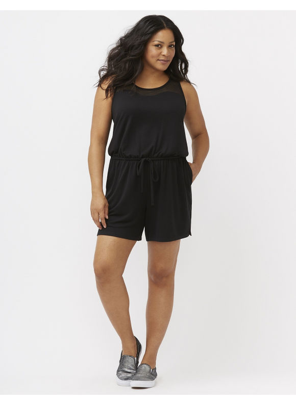 Lane Bryant Plus Size Mesh back romper Size 22/24, black