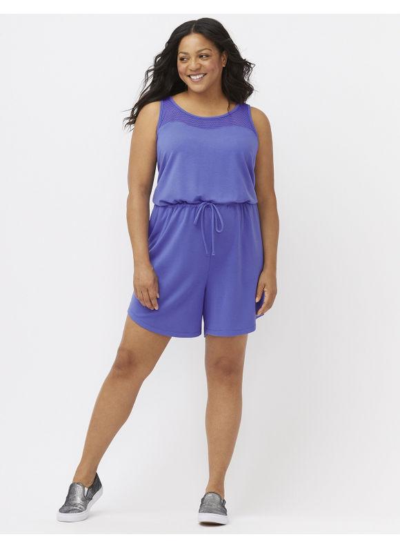 Lane Bryant Plus Size Mesh back romper Size 26/28, Dazzling Blue