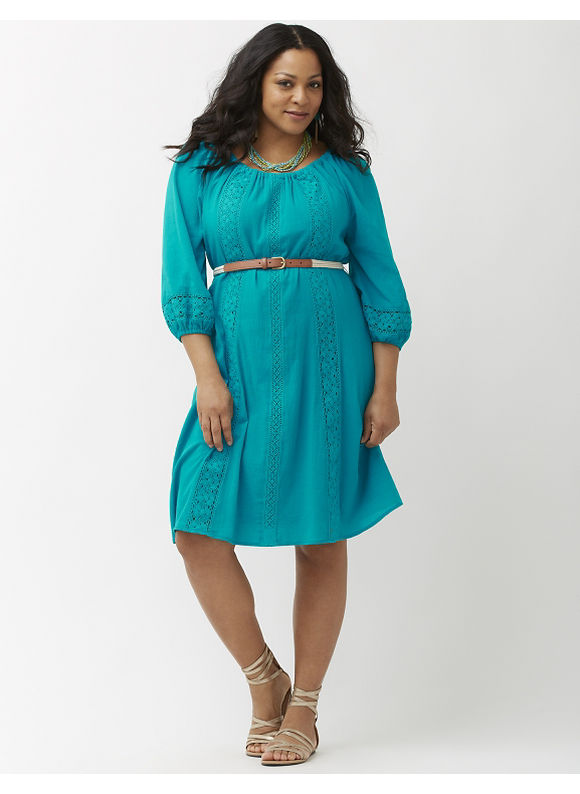 Plus Size Gauze peasant dress Lane Bryant Women's Size 26/28, blue