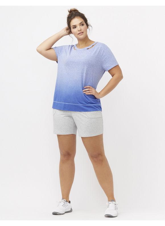 Lane Bryant Plus Size Dip dye tee with cut outs Size 14/16,18/20,22/24,26/28, Dazzling Blue, Cayenne - Lane Bryant ~ Trendy Plus Size Clothes